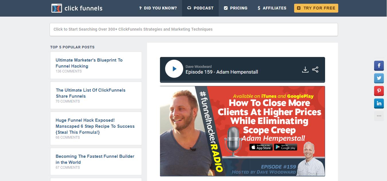 click funnels podcast adam hempenstall
