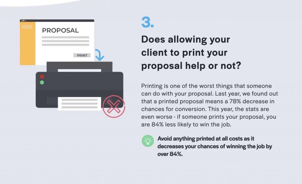 proposal gets printed because of PDF format