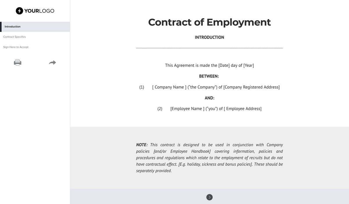Free Employment Contract Template Uk Better Proposals