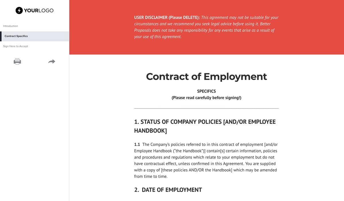 graphic relating to Business Hours Template Pdf called No cost Jobs Agreement Template (United kingdom) - Superior Proposals