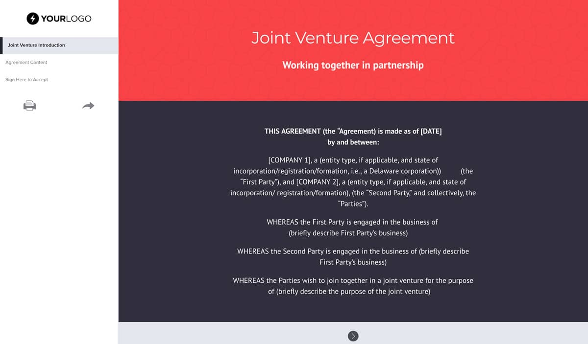 Free Joint Venture Agreement Template Better Proposals