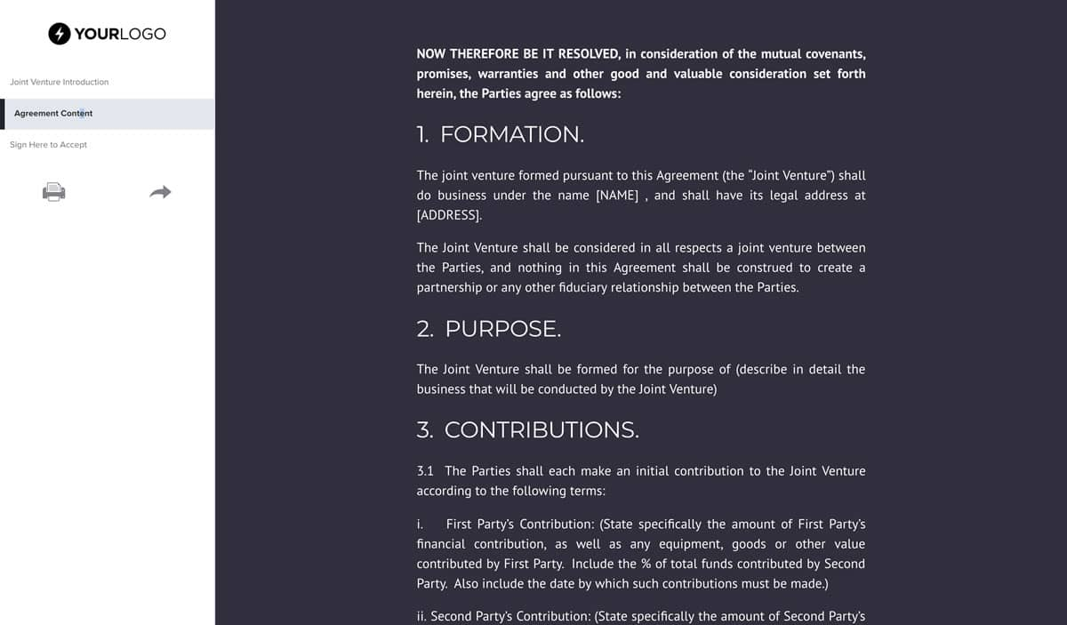 Beaufiful Free Joint Venture Agreement Template Joint