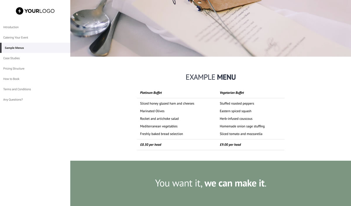 Free catering proposal template better proposals view template wajeb Choice Image