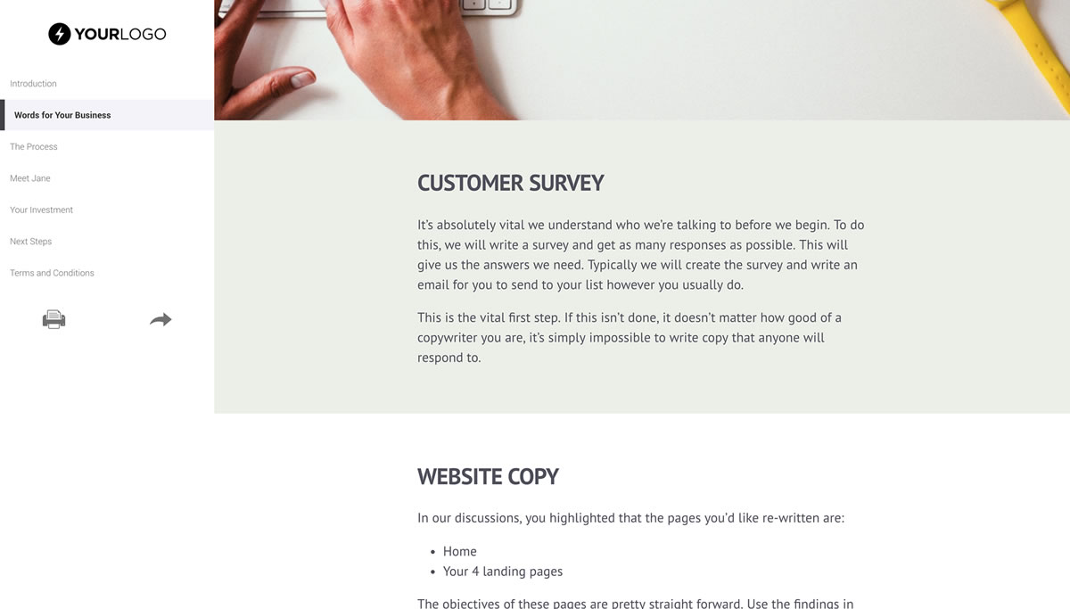 Web copywriting services proposal