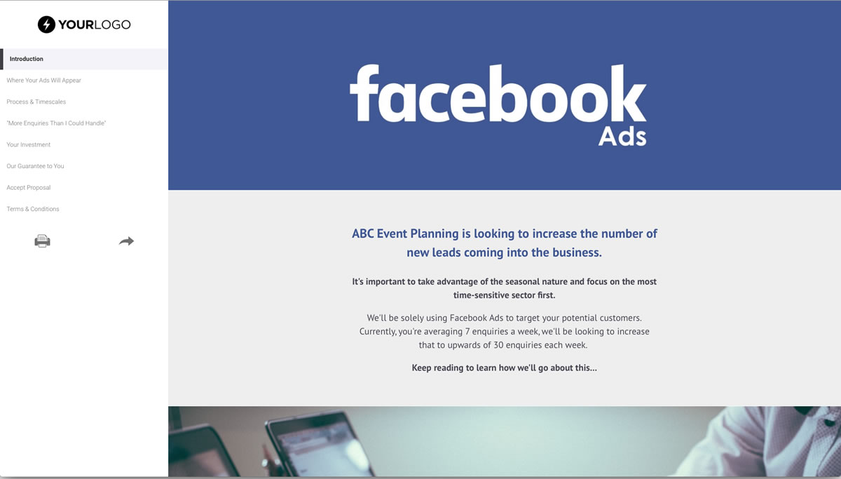 Free facebook ads proposal template better proposals accmission Choice Image