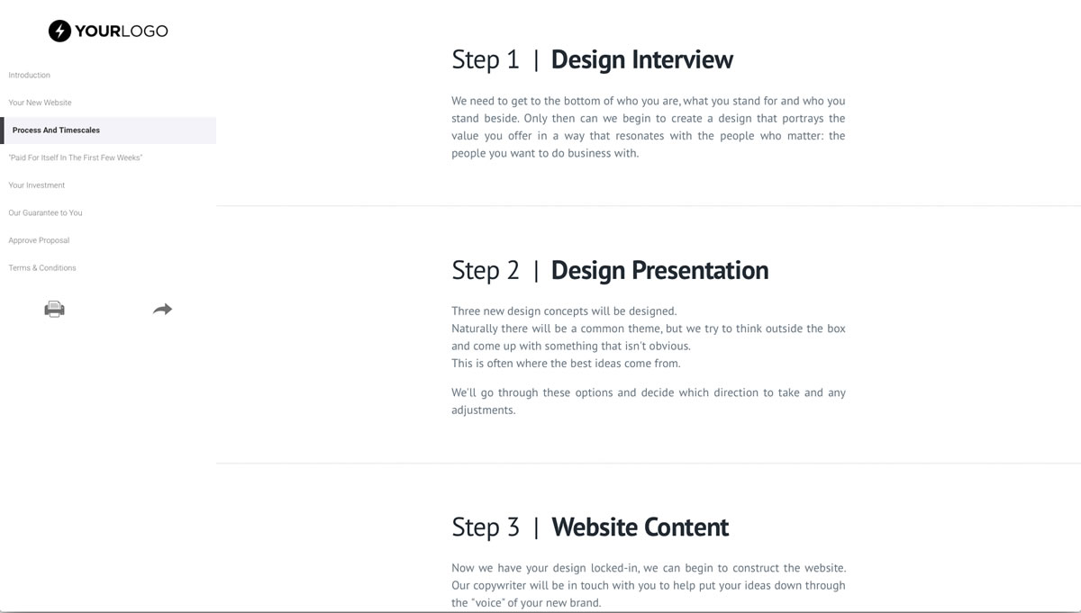 website proposal example