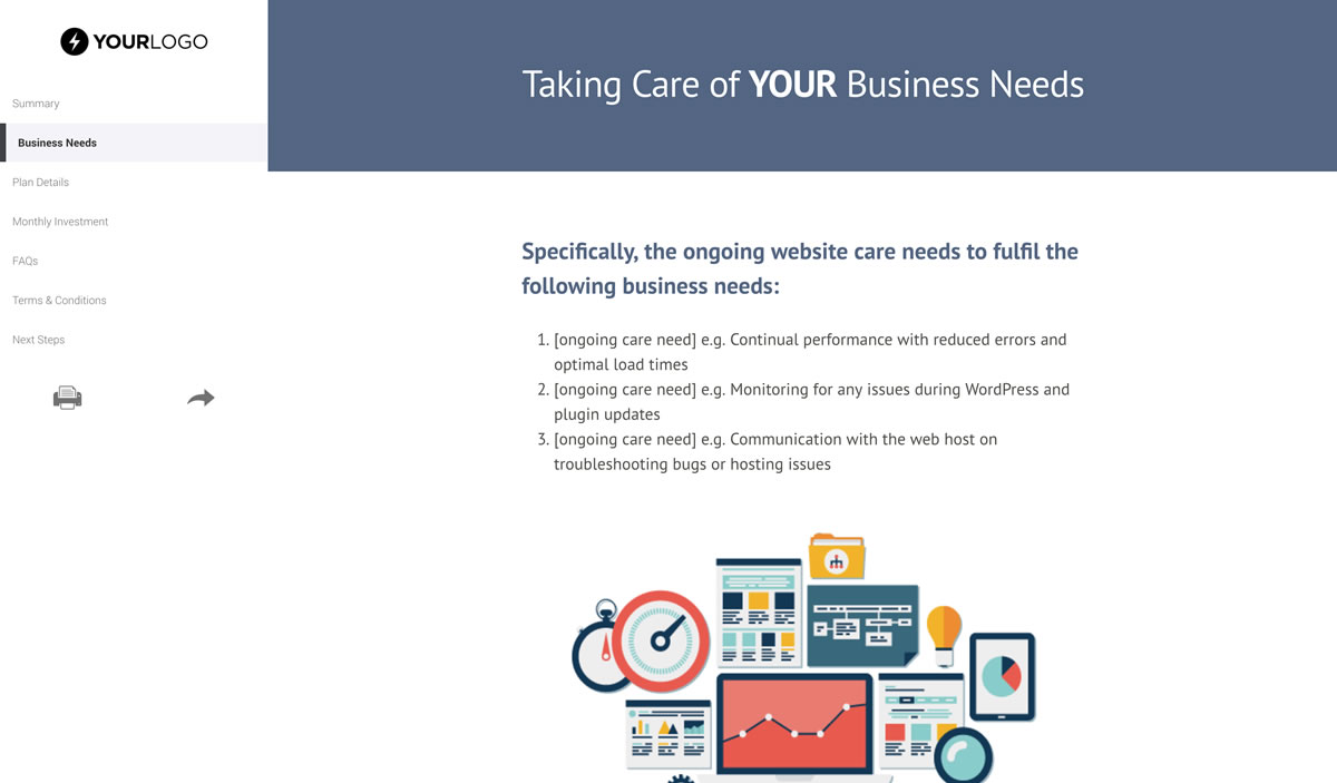 free website support and maintenance proposal template better proposals