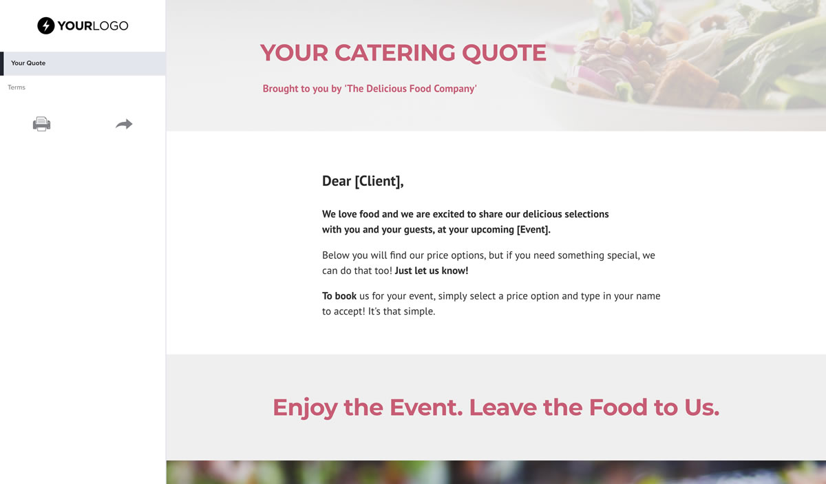 Free Catering Quote Template - Better Proposals