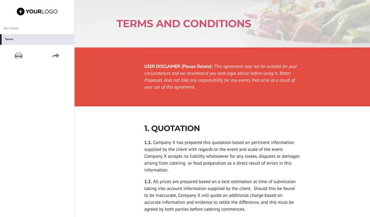 Free Catering Quote Template Better Proposals