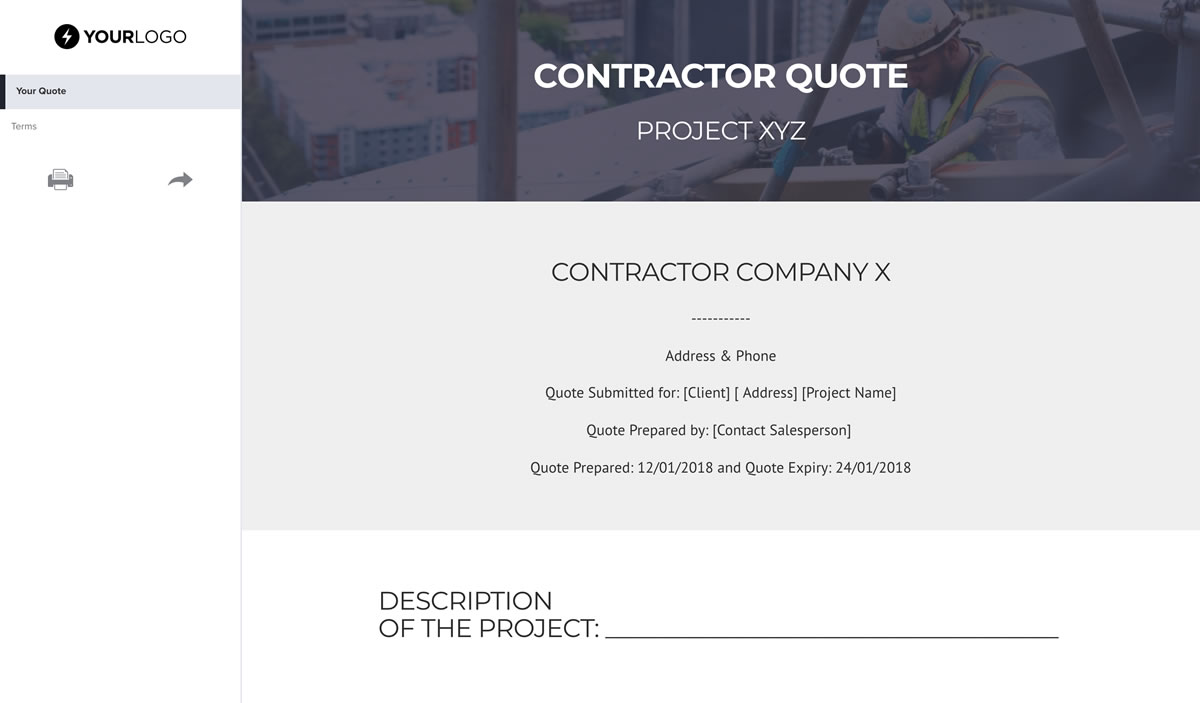 Free Contractor Quote Template - Better Proposals