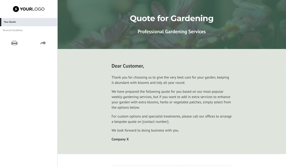 Free Gardening Quote Template - Better Proposals