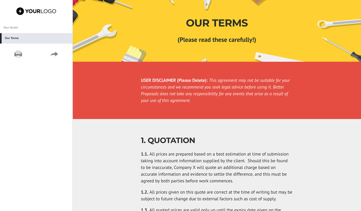 Free Handyman Quote Template - Better Proposals