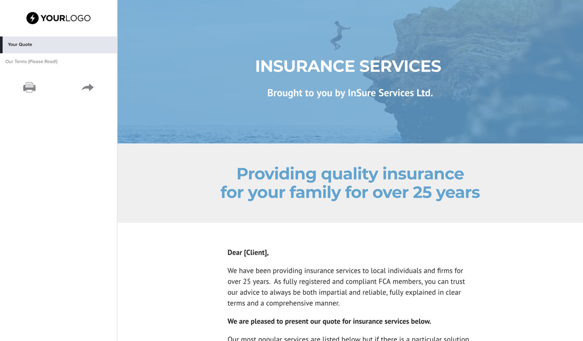 offering insurance services template  Free Insurance Quote Template - Better Proposals