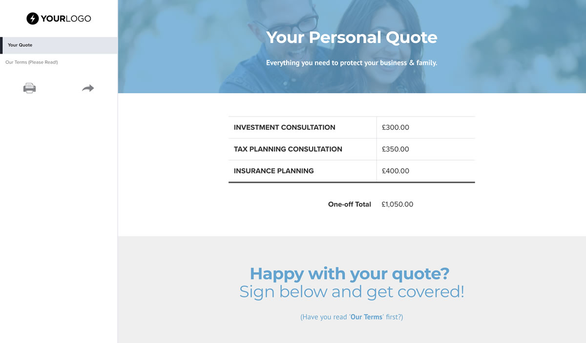 Free insurance quote template better proposals view template friedricerecipe Choice Image