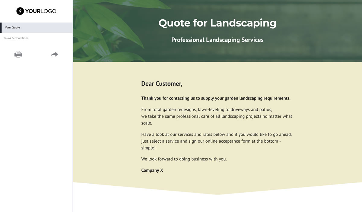 Free Landscaping Quote Template - Better Proposals
