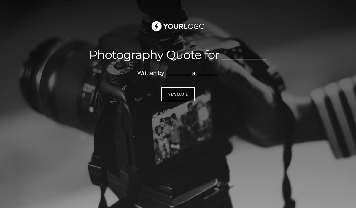 Free Photography Quote Template Better Proposals