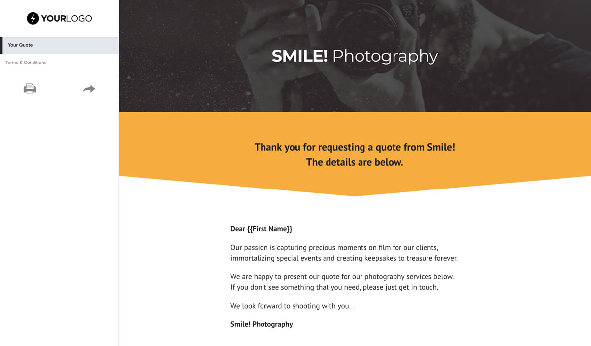 Free photography quote template better proposals view template wajeb Images