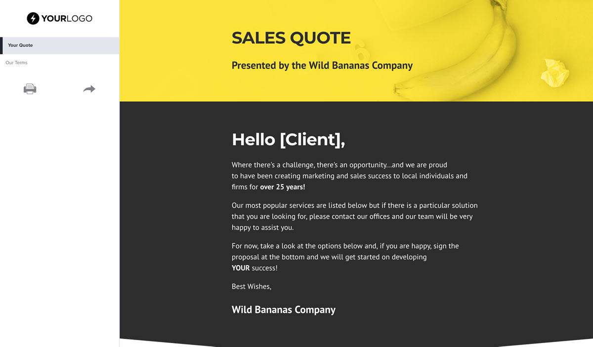 Free Sales Quote Template Better Proposals